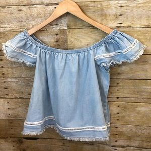NWT JACK BY BB DAKOTA   Washed Out Chambray Crop